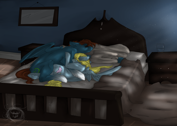 ((COM)) Queen Sized Bed... by Electric-Paws0w0