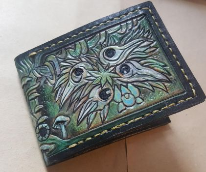 Green crow skull wolf leather wallet  front by Bubblypies