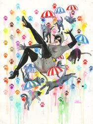 Catwoman and Parachute Cats by lora-zombie