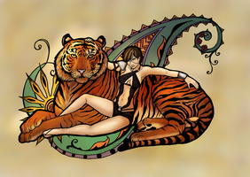 The red tiger and his silver lady by spadiekitchenqueen
