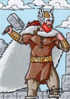 Thor Sketch Card - Classic Mythology by ElainePerna
