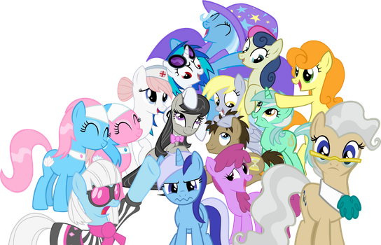 The Mane Background Ponies V2 by gengy23