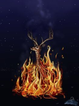 Deer bonfire - Rise from the ashes by DeboraPinto