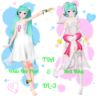 . : TDA White One Piece and Melt Miku dl : . by Sushi-Kittie