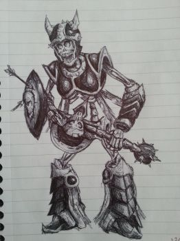 Skeleton Warrior - Ballpoint Pen by Jakeiiii