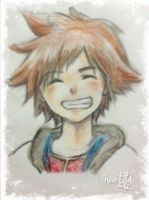 Sora smiling by Heartyful