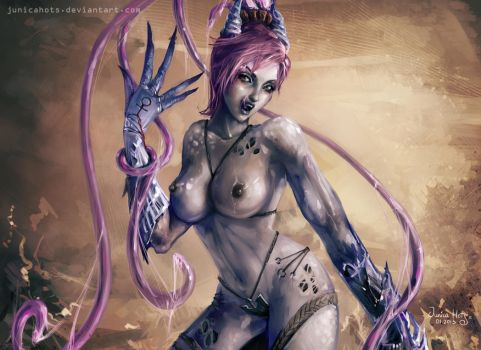 Slaanesh's follower, Warhammer (zoomed-in version) by Junica-Hots