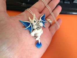 White/blue little key dragon by LittleDragonDesigns