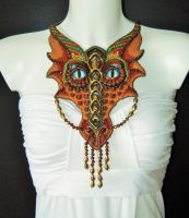 Bead embroidered dragon necklace / wall hanging by Priscillascreations