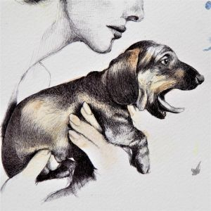 AudreywithPupDetail by Strooitje