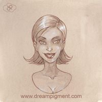 Sepia Girl Study by DreamPigment