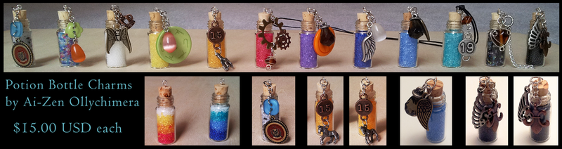 Potion Bottle Charms **FOR SALE** by OllyChimera