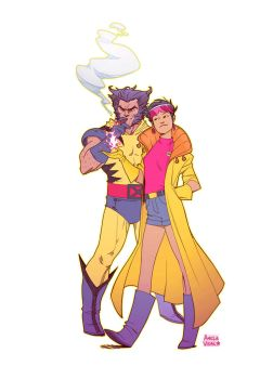 Commission of 90's cartoon Wolverine and Jubilee by AmeliaVidal