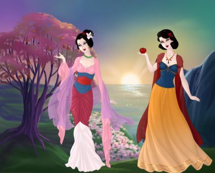 Goddess Mulan and Snow White by KatiesSuperAwesome