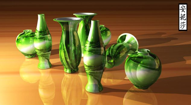 3D Green Vases 2 by Anisa-Mazaki