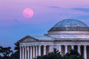 Thomas Jefferson Memorial Moonrise by ryangallagherart