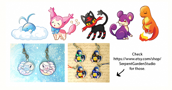 Pokemon charms WIP (and some news) by Ailinn-Lein