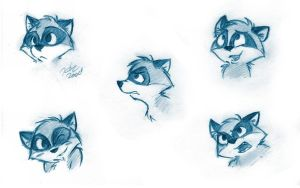 Raccoon Faces by TehMomo
