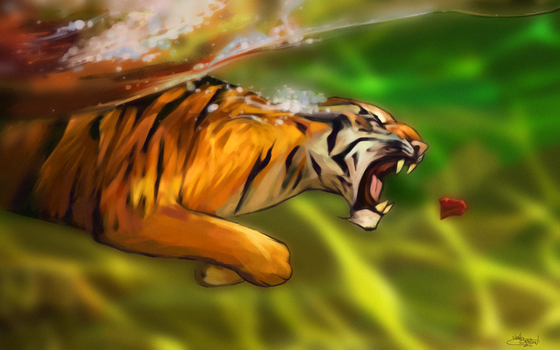 Swim with the Tigers by NoahBDesign