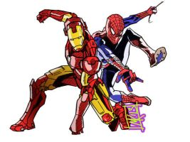 Ironman and Spiderman by semie