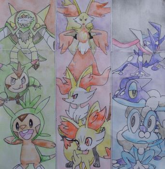 The Kalos Starters - Pokemon X and Y by nath2897