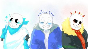 Tale, swap and fell Sans by atomicheartlight