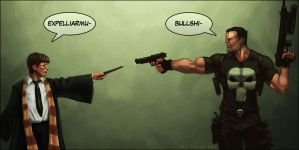 Harry Potter vs Punisher Old by daleicious