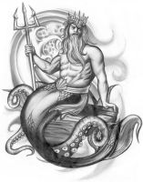 Poseidon Tattoo Design by 13star
