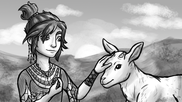 Young Taliyah and Goat (League of Legends) by InkRose98
