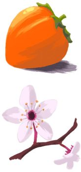 Persimmon and Cherry Blossom by suger-hyper
