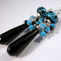 Black onyx, artisan lampwork, turquoise, sterling by cserpentDesigns