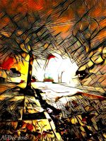 Orange and Black Abstract by AliDee33