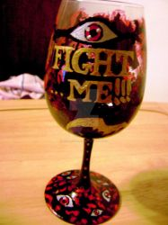 Hellsing Wine Glass text by Hold-Your-Fire