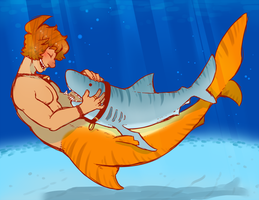 Sharkline and his buddy by DarkChibiShadow