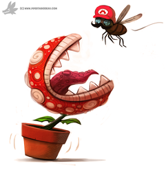 Daily Painting #917 - Piranha Fly Trap by Cryptid-Creations