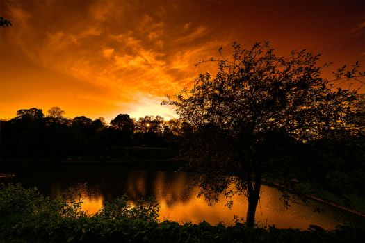 Sunset over the Pond of Falaise, Normandy, France by Jean-Baptiste-Faure