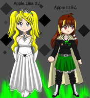 chibi Lisa and Apple III-tans by Kattlanna