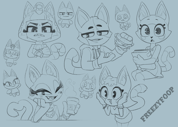 Kitty Sketches by FreezyFoop