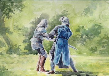 Knights Fight Watercolor by Entar0178