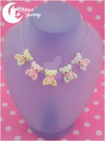 Rainbow bears parade Necklace by CuteMoonbunny