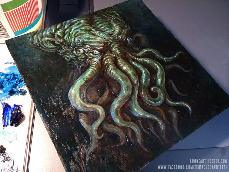 Cthulhu Oil Painting by TentaclesandTeeth