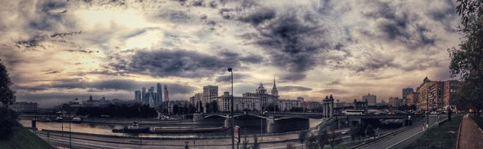 Moscow river cityscape panorama  by ubinko