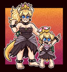 Bowsette and Jr by sonica-michi