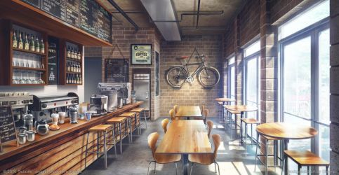 Hipster coffee Day - Visual Novel Background by giaonp