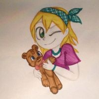 A girls teddy bear (colored) by veeeester400