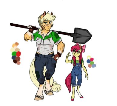 Infected!AU: Applejack and Apple Bloom by Earthsong9405