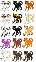 15 Cats ALL ADOPTED by Bubbletea-Coyote
