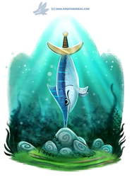 Daily Paint #1189. Swordfish in the Stone by Cryptid-Creations