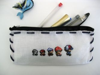 Cross stitch Pokemon trainer pencil bag by Miloceane