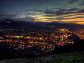 Nightshot Of Salzburg by Burtn